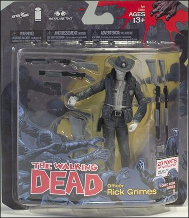 """Walking Dead (Comic Book Series 1) """"Black and White"""" Officer Rick Grimes by McFarlane Toys"""