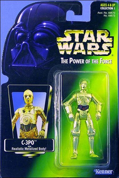 "Star Wars: The Power of the Force 2 3 3/4"" Basic Action Figures C-3PO (Green Card) (Green Tint) by Kenner"