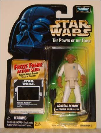 "Star Wars: The Power of the Force 2 3 3/4"" Basic Action Figures Admiral Ackbar (Comlink Wrist Blaster) w/ FF by Kenner"