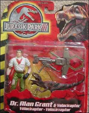 Jurassic Park III (Movie) Action Figures Dr. Alan Grant & Velociraptor by Hasbro