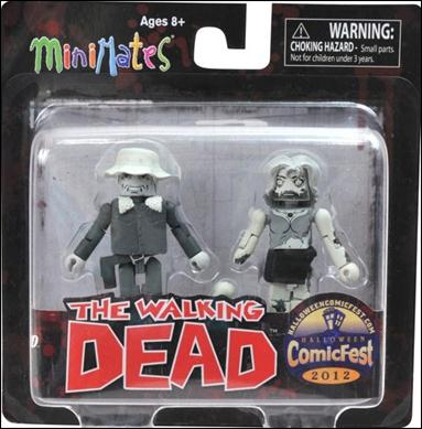 Walking Dead Minimates (Exclusives) Black and White Dale and Female Zombie by Diamond Select